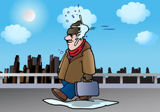 Direct hit!. Illustration of a man hit by snowball from behind on winter Royalty Free Stock Photography