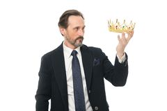 Direct line to throne. Enormous privilege. Become king ceremony. King attribute. Become next king. Monarchy family. Traditions. Man nature bearded guy in suit stock images