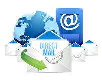 Direct mail Blue Mailbox with Mails global Royalty Free Stock Images