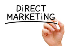 Direct Marketing Black Marker. Hand writing Direct Marketing with black marker on transparent wipe board Stock Photography