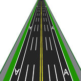 Direct road highway with markup. Dedicated lanes for public transport illustration Royalty Free Stock Photography
