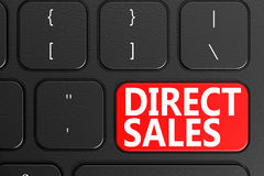 Direct Sales on black keyboard. 3D rendering Stock Photo