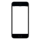 Direct vooraanzicht van een moderne zwarte mobiele slimme telefoon stock foto's
