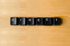 Direct word. With keyboard buttons stock images
