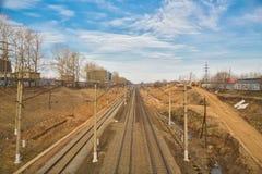 Directe spoorlijnen stock foto