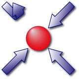 Directed arrows. Three blue arrows going to the center with red ball and one arrow with reverse direction Royalty Free Stock Images