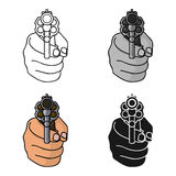 Directed gun icon in cartoon style isolated on white background. Crime symbol stock vector illustration. Stock Image