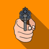 Directed gun icon in flat style isolated on white background. Crime symbol stock vector illustration. Stock Photo