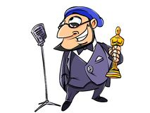Directed by Oscar awarded. Illustration. The director said it into the microphone at the awards ceremony Oscar. Isolated on white Royalty Free Stock Photos