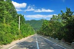 Directement à la montagne Photos stock