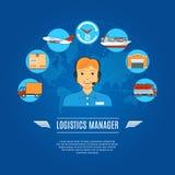 Directeur Concept Icons de logistique Photographie stock libre de droits