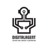 Directeur d'agent de Digital - illustration créative de concept de calibre de logo Signe créatif d'Android Icône humaine de carac illustration libre de droits