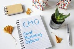 Directeur de Marketing de CMO écrit dans un carnet Photographie stock libre de droits
