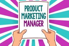 Directeur de marketing de produit des textes d'écriture de Word Concept d'affaires pour qui responsable de mettre le plan pour ve illustration stock
