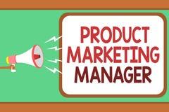 Directeur de marketing de produit des textes d'écriture de Word Concept d'affaires pour qui responsable de mettre le plan pour ve illustration de vecteur