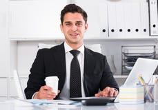 Directeur de sourire travaillant sur l'ordinateur portable image libre de droits