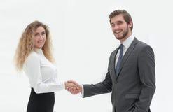 Directeur et client de poignée de main sur le fond brouillé Images stock