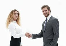 Directeur et client de poignée de main sur le fond brouillé Image libre de droits
