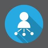 Directeur Flat Icon Bouton coloré rond, signe circulaire de vecteur avec le long effet d'ombre Photos stock
