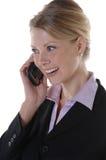 Directeur heureux sur le téléphone portable image stock
