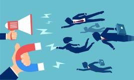 Directeurs engageant des travailleurs avec l'aimant illustration stock