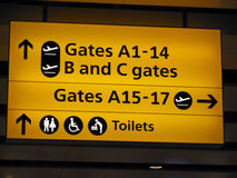 Directioanl signs of London airport Royalty Free Stock Photo