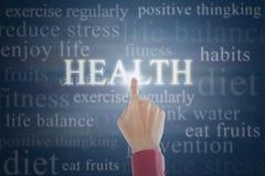 Direction émouvante de la vie de santé de main Image stock