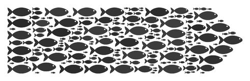 Direction Arrow Composition of Fish Icons. Direction arrow vector shape built from random fish objects in various sizes. Fish icons are organized into abstract royalty free illustration