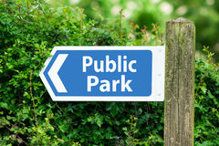 Direction Arrow, Sign To Public Park in Blue Color Royalty Free Stock Photos