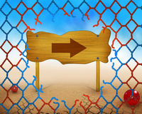 Direction arrow symbol on wooden and broken red and blue net. Illustration work Royalty Free Stock Image