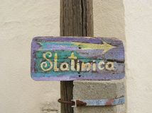 Direction arrow to Slatinica beach Royalty Free Stock Images
