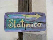 Direction arrow to Slatinica beach Royalty Free Stock Image