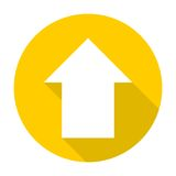 Direction arrow up icon with long shadow Stock Photography