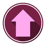 Direction arrow up icon with long shadow Royalty Free Stock Photography