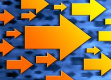 Direction arrows. 3-d direction arrows moving right on a blurry background Stock Illustration