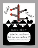 Direction Arrows. Black Friday Banner Card Brochure. Direction Arrows. Banner Card Brochure - Black Friday Sale in Wonderland. Printable Vector Illustration for Royalty Free Stock Image