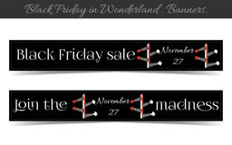 Direction arrows Black friday banners. Banners Black Friday Sale in Wonderland - Direction arrows. Vector Illustration for Graphic Projects, Real Life Parties Stock Image