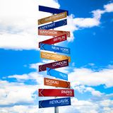 Direction arrows and distance signs for several European cities from Salzburg. Austria. Colorful blue sky with clouds background. Concept photo for traveling Royalty Free Stock Photos