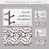 Direction Arrows From Wonderland. Cards Templates. Stock Image