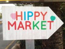 Direction au marché de hippie Photos stock