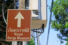 Direction Board Of National Museum of Royal Barges, Bangkok, Thailand. Royal Barge is a ceremonial barge that is used by a monarch for processions and transport royalty free stock photos