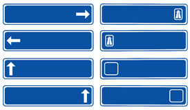 Direction boards. Road - blue traffic board direction Royalty Free Stock Photos