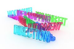 Direction, business conceptual colorful 3D rendered words. Positive, communication, title & artwork. Direction, business conceptual colorful 3D rendered words royalty free illustration