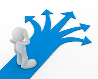 Direction choice concept 3d illustration. Direction choice 3d illustration  on white background Royalty Free Stock Photo