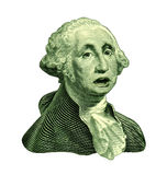 Direction of currency. Direction of the U.S. dollar bill symbol featuring the vintage portrait of George Washington with a talking expression showing concern for Stock Photo