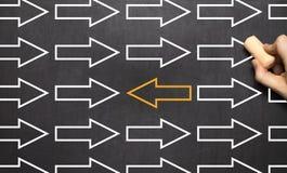 Direction de changement - tableau noir de concept d'affaires de gestion illustration stock