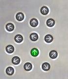 Direction différente de bouton d'ascenseur Photos libres de droits