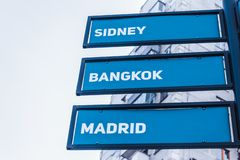 Direction and distance indicator to the capitals of the world. Signpost of the direction and distance to the capitals of the countries of the world stock images