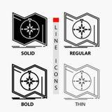 Direction, explorer, tracer, diriger, icône de navigation dans la ligne et le style minces, réguliers, audacieux de Glyph Illustr illustration stock
