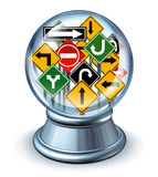 Direction Forecast. Business concept as a glass crystal ball with a group of confused traffic road signs as a symbol of future predictions and the need for Stock Photography